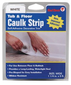1-1/4 in. x 5 ft. Wide White Tub & Floor Caulk Strip