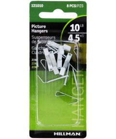 Zinc Conventional Picture Hanger 10 lbs., Pack of 8
