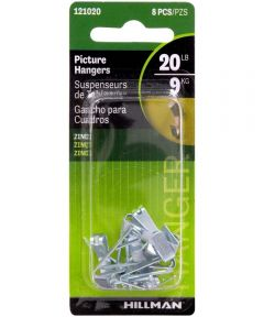 Zinc Conventional Picture Hanger 20 lbs., Pack of 8