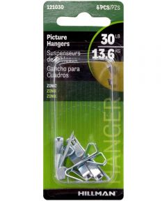 Zinc Conventional Picture Hanger 30 lbs., Pack of 6