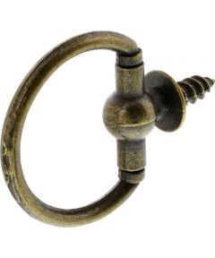 Antique Brass Decorative 1-1/8 Inch Round Screw Ring