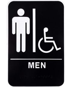 Men's Handicapped Restroom Sign with Braille 6 in. X 9 in.