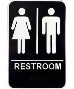 Unisex Restroom Sign with Braille 6 in. X 9 in.