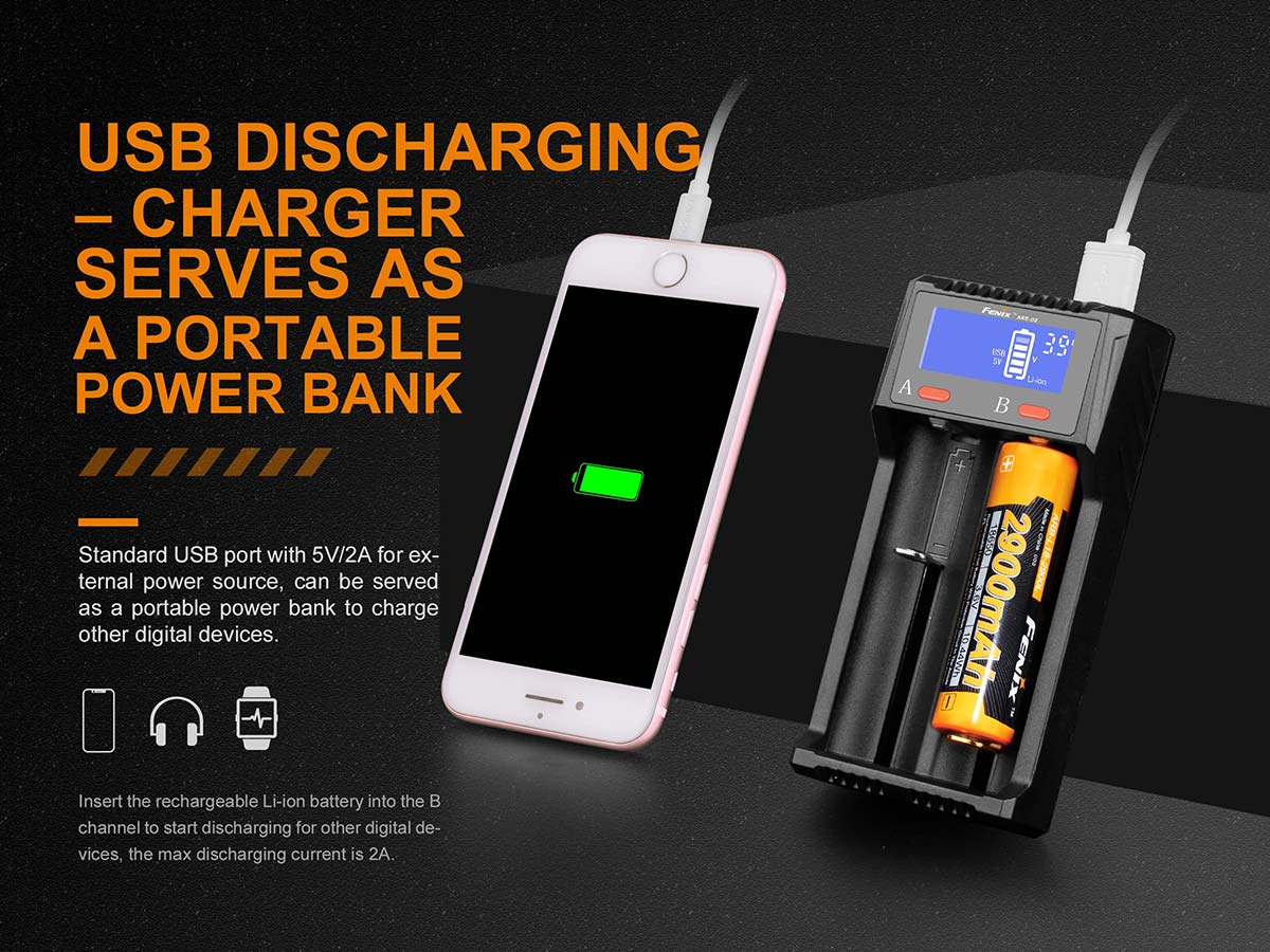 USB discharging - charger serves as a portable power bank