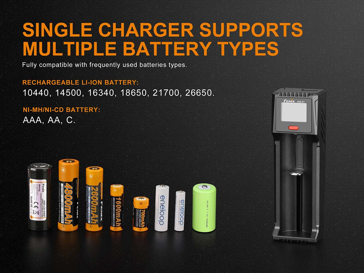Single charger supports multiple battery types